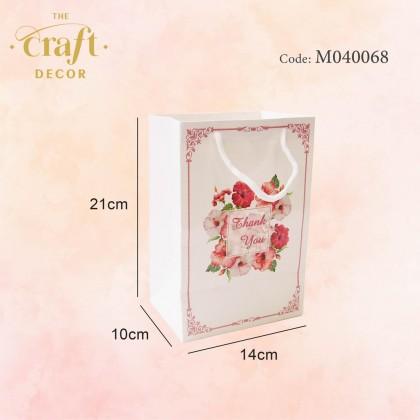10pcs Flower Printed Glossy Paper Gift Bag