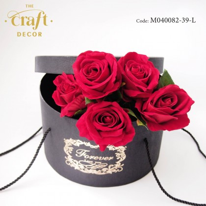 Black Round Flower Box With Rope Handle