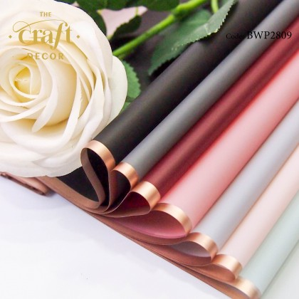 20Sheets Waterproof Golden Rim Edge Flower Wrapping Paper