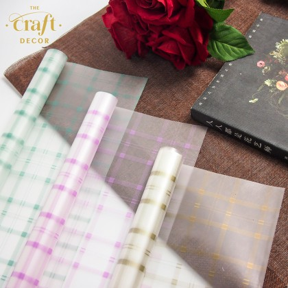 20Sheets Plaid Flower Wrapping Paper